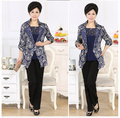Free Shipping 2015 Spring New Middle-aged Lady Fashion Leisure Temperament Printing Two-Piece Mother High-Grade Trench Coat
