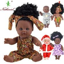 Afrikanska 12-tums svart mode baby dockor lol återfödd silikon vinyl 30cm nyfödd Rapunzel Boneca baby mjuk leksak flicka kid Nathniel