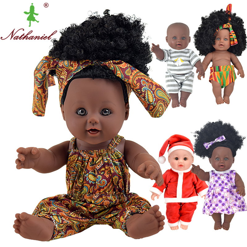 Africano! Polegada preto moda bebê reborn bonecas lol 12 poupee 30 cm nascido de vinil silicone boneca de brinquedo macio do bebê menina miúdo nathniel