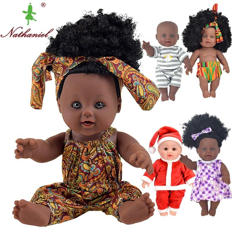 Afrikanische! 12 zoll schwarz mode baby dolls lol reborn silikon vinyl 30 cm neugeborenen poupee boneca baby stofftier mädchen kid Nathniel
