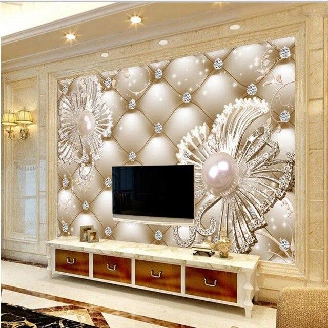 cb3c9fc8637 Beibehang personalizado grande fresco 3D suave bolso Diamantes Joyería flores  fondo de lujo pintado pared papel