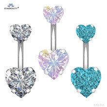 1 pc Bijoux คู่ Heart Belly Piercing Nombril Belly แหวนปุ่ม Navel Piercing Ombligo Sexy Belly Dance Pircing ต่างหู(China)