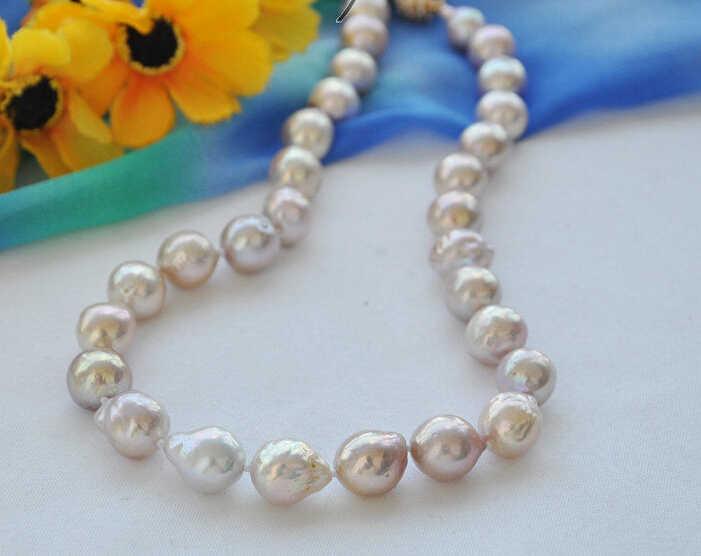Быстрая доставка>>>> z4900 Блеск 13 мм лаванды круглый кеши возрождается freshater жемчужное ожерелье 17 дюймов