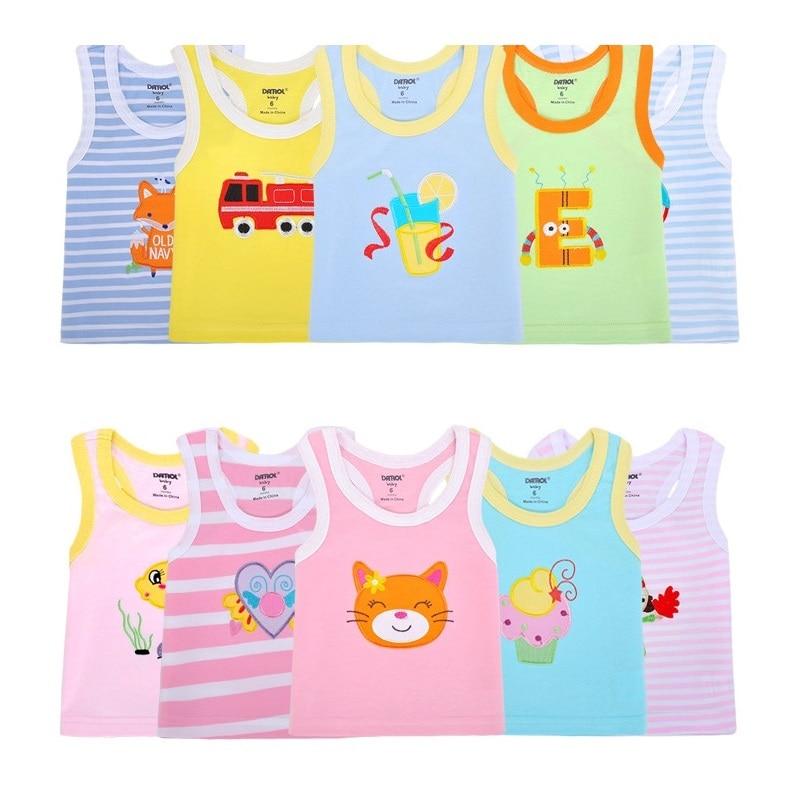 2019 Summer Baby Boy Tops Sleeveless Girls Vest Tanks Camisoles Newborn Undershirts Children T-Shirt Cotton Tee Shirts 0-3Y 4