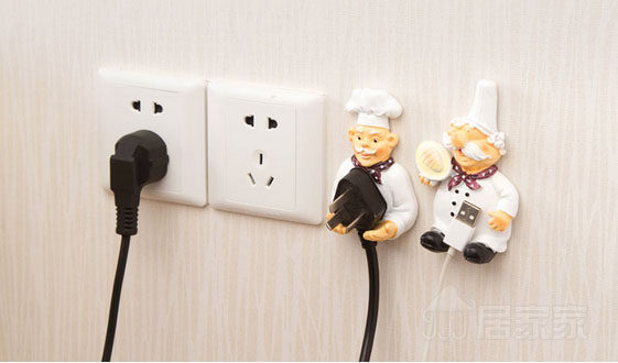 2 Pcs Cartoon Resin Outlet Power Cord Storage Rack Hook Rack Strong Stick  Hook Holder Finishing Plug