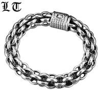 LT 925 пробы серебряный крест звено цепи толстые Для мужчин браслет Винтаж Таиланд ручной работы в стиле Панк Рок Байкер Браслеты изделия для