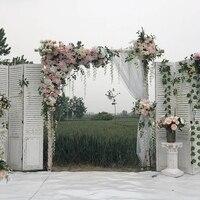 Белый с светло розовым цветом с травой зеленый Свадебный цветок стена искусственный Шелковый цветок фон свадебное украшение дома