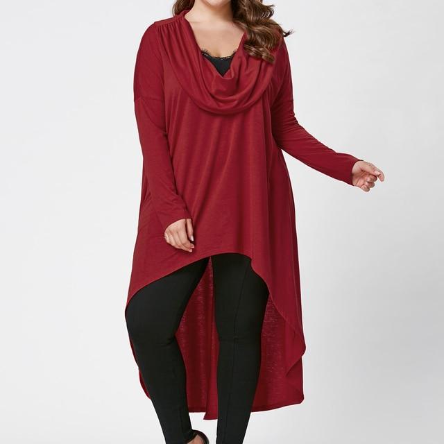 Plus Size Irregular hem Long Sleeves Casual Cotton Dresses Ladies Womens Autumn Lagenlook Solid Color Tunic Dresses 2