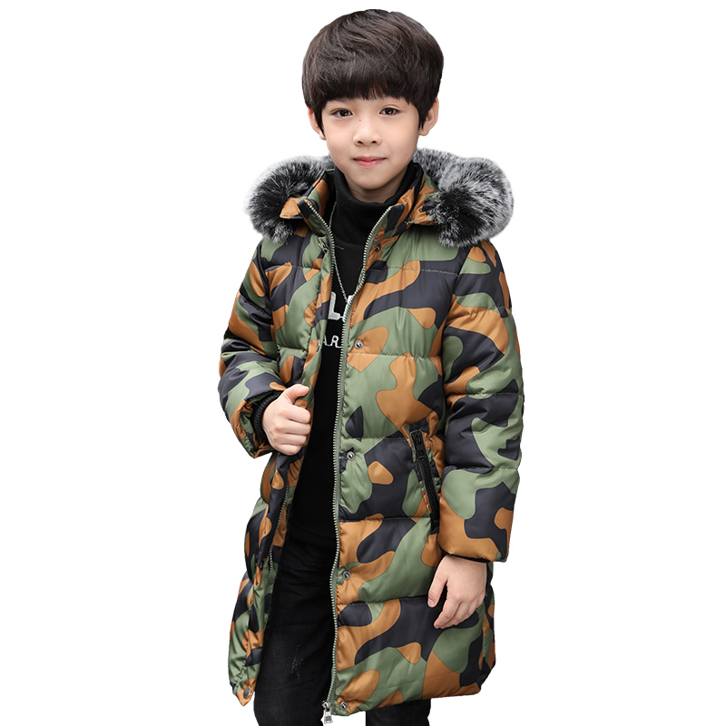 Children Medium-long Jackets 2017 Winter Boys Coats fur Camouflage Down Jackets For Kids  High Quality Casual Jacket Coat 2017 winter new clothes to overcome the coat of women in the long reed rabbit hair fur fur coat fox raccoon fur collar