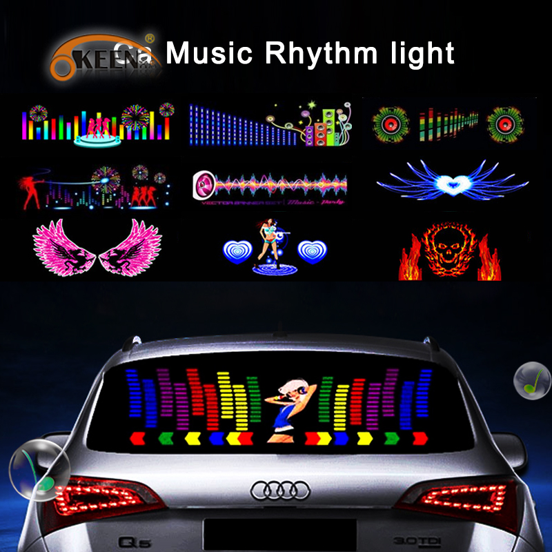 OKEEN music car sticker music equalizer 90*25cm car styling neon light car music Rhythm LED Flash Light led car Decoration Lamps car sound control sensor music rhythm electro luminescent sheet light lamp 90 x 10cm