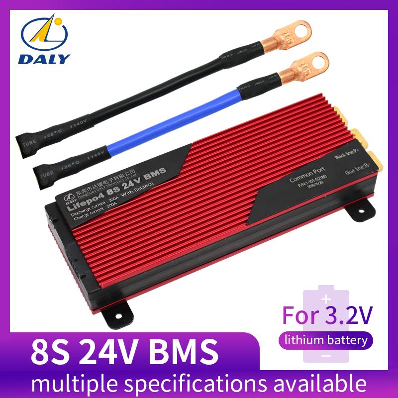 Daly Battery-Protection Balanced 200A 100A 18650 24V 80A PCM LFP 8S with Board-Bms title=