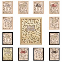 Personalized Engraved Rustic Drop Top Wooden Wedding Guest Book Frame Customized Name Name 130 Pcs Hand