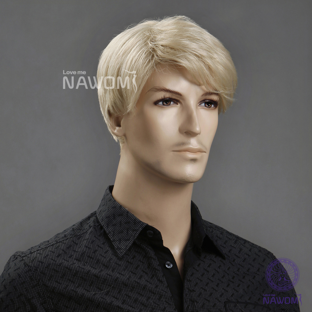 New Male Wig Short blonde hair