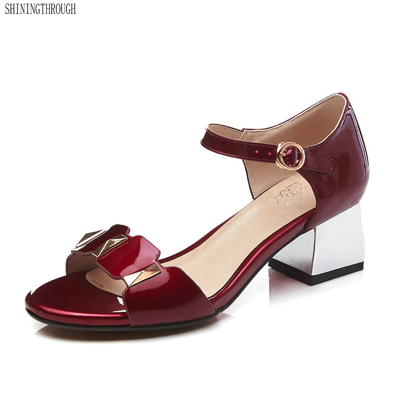 Cow Leather Woman Sandals high heels Concise dress Shoes woman Comfortable Square Heel Shoes Plus Size34