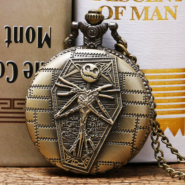 Cool Retro Brass The Nightmare Before Christmas Round Quartz Pocket Watch With C