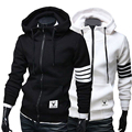Fashion Men Turtleneck Hoodies Brand Sports Suit Sweatshirt Hoodie Casual Zipper Hooded Jackets