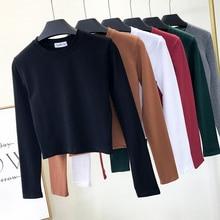 Базовая футболка, женские укороченные топы с длинным рукавом, осень 2020, футболка, женская футболка в Корейском стиле, хлопковые Новые Топы, короткая футболка