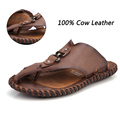 Male Summer Casual Shoes The Best Quality Fashion Breathable Genuine Leather Flip Flops Men Cow Leather Handmade Sandals