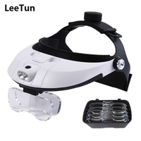 Head Wearing Headband Magnifier Illuminated Magnifying Glasses 2 LED Lights 1X 1.5X 2X 2.5X 3.5X for Stamp Collection