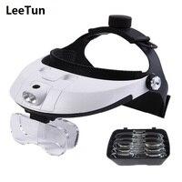 Testa Indossando fascia Magnifier Illuminato Lente di ingrandimento Lenti di ingrandimento con 2 Luci LED Auricolare Dentale E. N. T. Lenti di ingrandimento