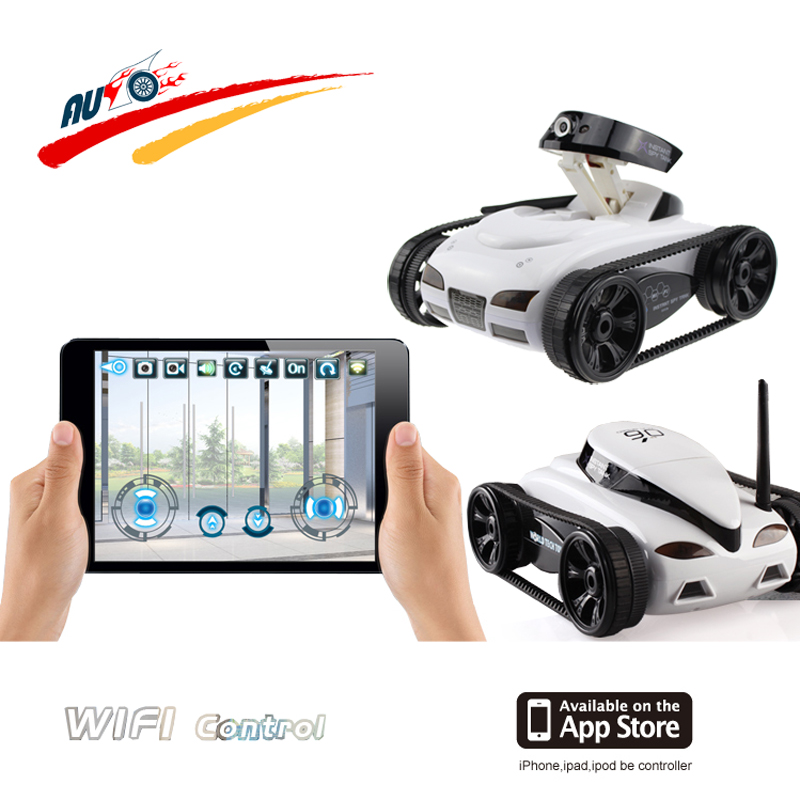 WIFI RC Tank  Radio Control Car Real-Time Camera Cars for iPhone iPad iPod Controller App with 0.3MP Camera Electronic Toy Model ipod clock radio