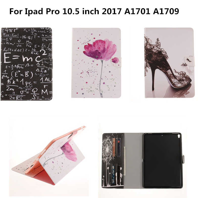 New Print PU Leather Case Cover For Apple iPad Pro 10.5 inch 2017 Fashion Flip Stand Case Magnetic Protective Shell Skin Funda case cover for goclever quantum 1010 lite 10 1 inch universal pu leather for new ipad 9 7 2017 cases center film pen kf492a