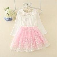 Children S Long Sleeve Peter Pan Collar Patchwork Floral Mesh Princess Party Flower Girls Tutu Dress