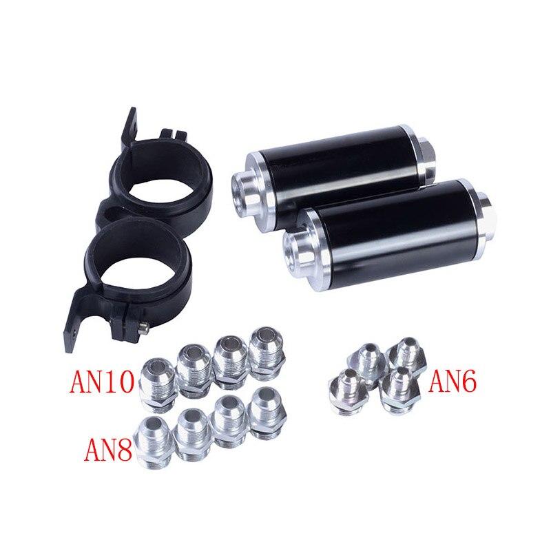 Kit de filtre à essence en ligne de carburant en aluminium SPEEDWOW filtre à carburant à haut débit adaptateur de raccords AN10/AN8/AN6 avec support de pompe à carburant - 4