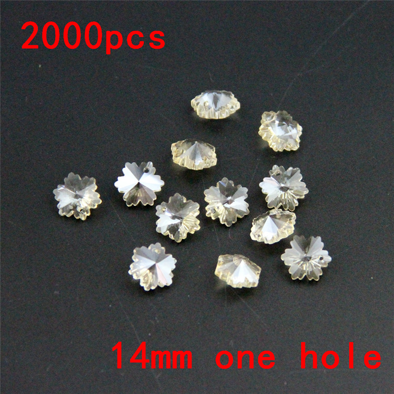 Hot 2000pcs Cognac 14mm Crystal Snowflake Beads Loose Glass Prism Pendant Chandelier Parts For Crystal Lighting Decoration