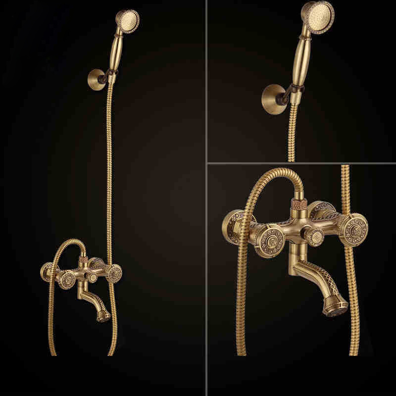 Bathtub Faucets Antique Brass Bath Rain Shower Faucet Head and Handheld Shower Faucet 2 Handel Bathroom Wall Mounted Tap LJ10119  luxury bathroom rain shower faucet set antique brass handheld shower head two ceramics lever bathtub mixer tap ars003