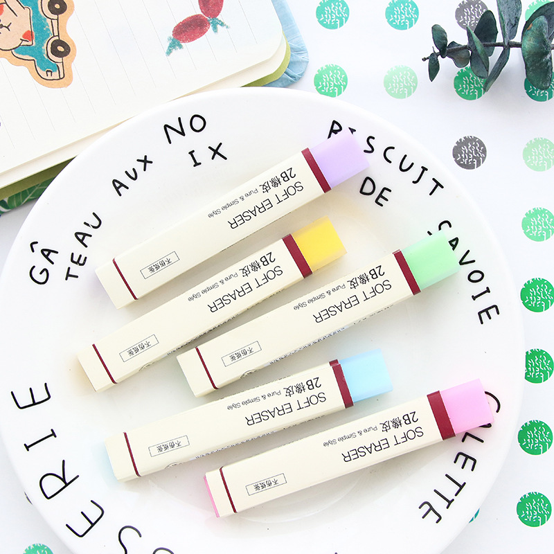 Pure & Simple Style Soft Eraser For Pencil 2B Erasers Color Jelly Stick Stationery Office Material School Supplies