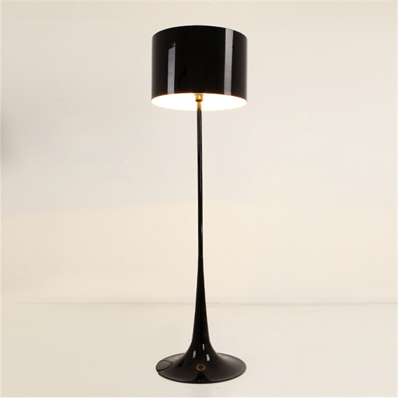 H162cm white black wrought iron floor lamp modern living for Living lighting floor lamps