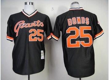 da3ea9e7dbb HOT SALE San Francisco Giants  25 Barry Bonds Jersey Cream Gray Black Orange  Baseball Throwback Jersey Cheap Wholesale