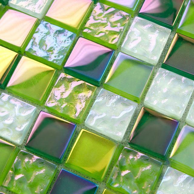 Grün mosaik fliesen backsplash günstige kristall glas blatt ...