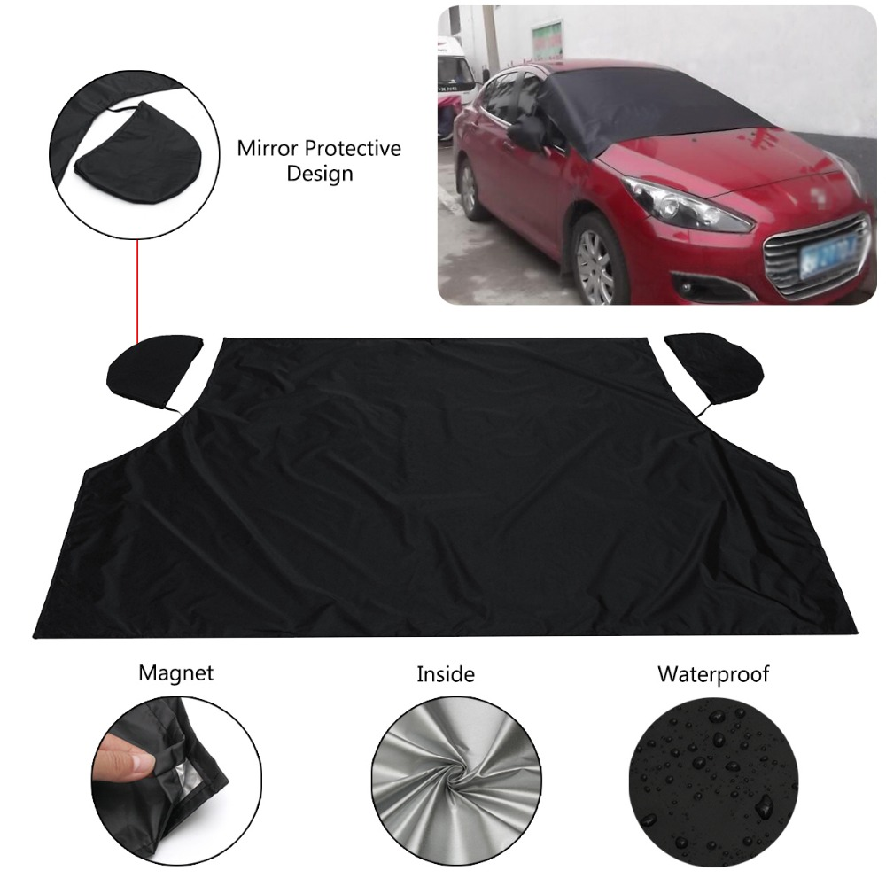 Dust Covers 215 X 125 Cm Car Front Windshield Snow Frost Cover Sun Snow Rain Anti-frost Protector Auto Windscreen Black Silver For Suv Home & Garden