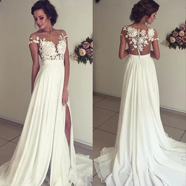 Vintage Chiffon Beach Wedding Dress Summer White Cap Sleeves V Neckline Ed Split Boho