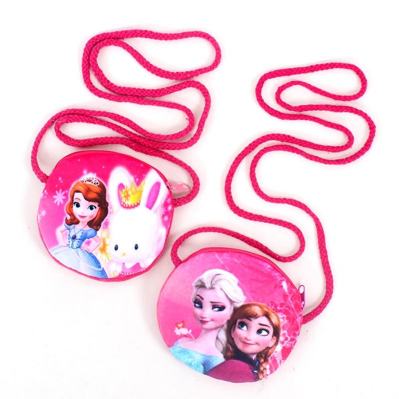 New Elsa Anna Baby Girls Mini Messenger Bag Cute Plush Cartoon Boys Small Coin Purse Children Handbags Kids Shoulder Mini Bags