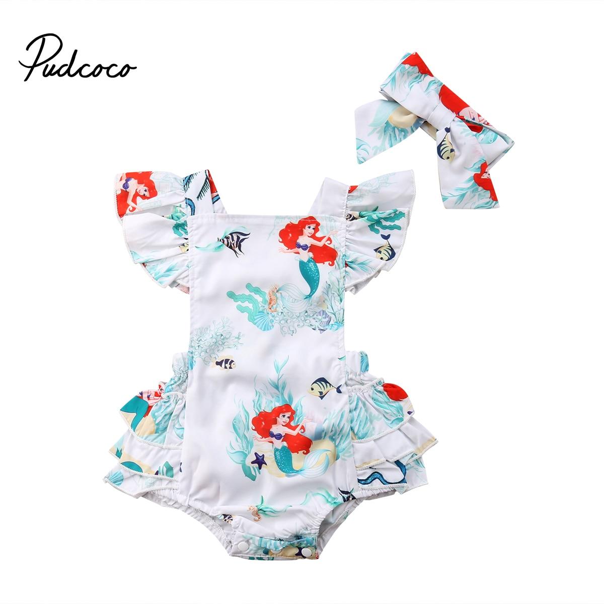 Newborn Baby Girls Mermaid Layered Ruffled Backless Bodysuit Babies Cartoon Bodysuits Headband Outfit Clothing Set