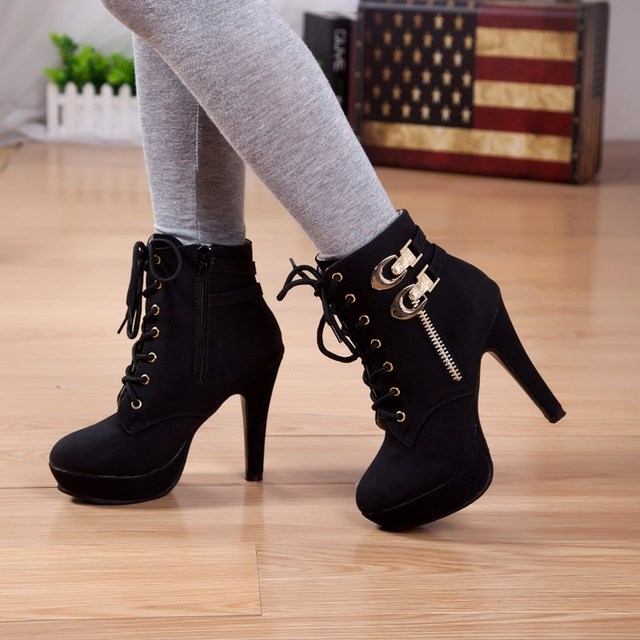 ad9b1e7d6 Super-elevation rivet high-heeled platform lacing thin heels ankle boots  martin boots female