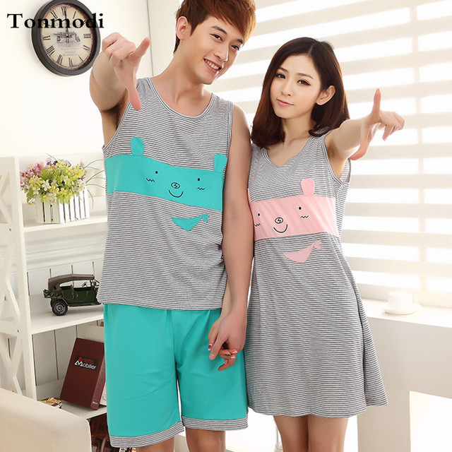 cab340ca47 Women s pajamas Summer Sleeveless Nightdress Love Men Vest Sleepwear Stripe  Vest Nightgown Women Couple Lounge Pajama