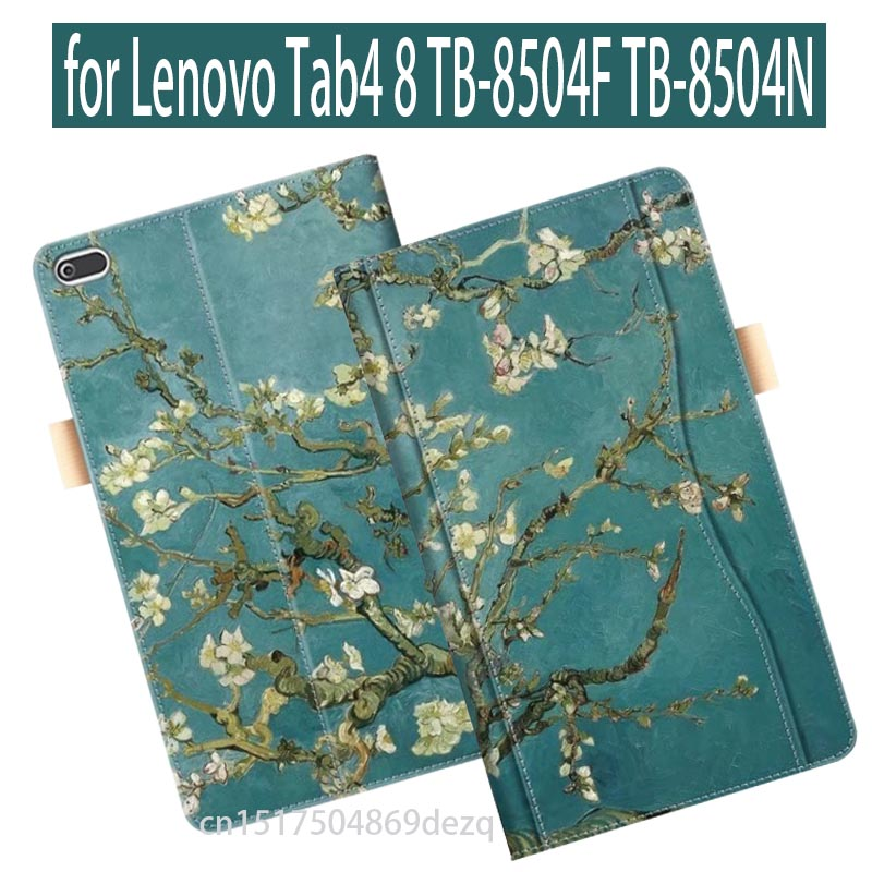 2017 new Case for Lenovo TAB4 8 Print PU Leather Folding Folio Case for Lenovo TAB 4 8 TB-8504N TB-8504F Tablet Case Flip Stand slim fit stand feature folio flip pu hybrid print case for lenovo tab 3 730f 730m 730x 7 inch