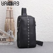 Unicalling сумка мужская кожаная модная мужская сумка качества натуральная кожа + нейлон Оксфорд мужской моды груди мешок