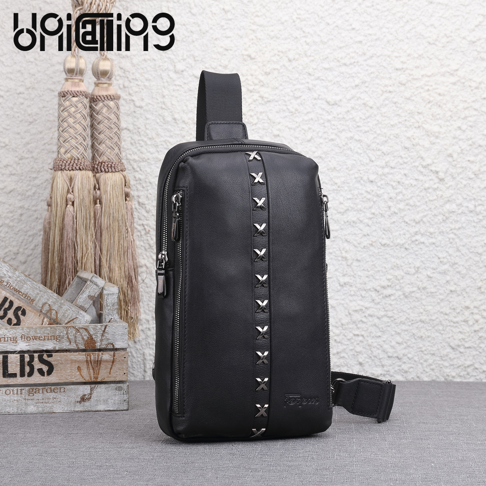 UNICALLING messenger bag men leather fashion men crossbody bag quality genuine leather+ nylon oxford male fashion chest bag unicalling denim