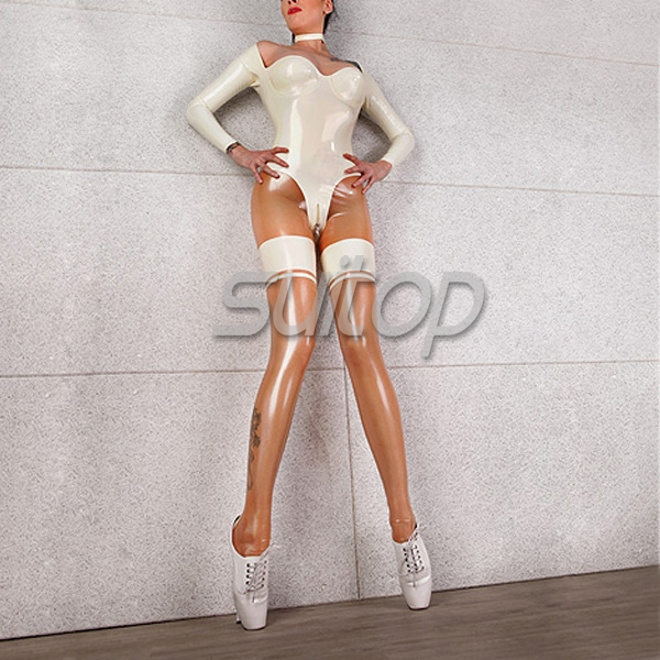 Catsuit Capri de látex ajustado en blanco y claro natural para mujer-in Pantalones y pantalones pirata from Ropa de mujer    1