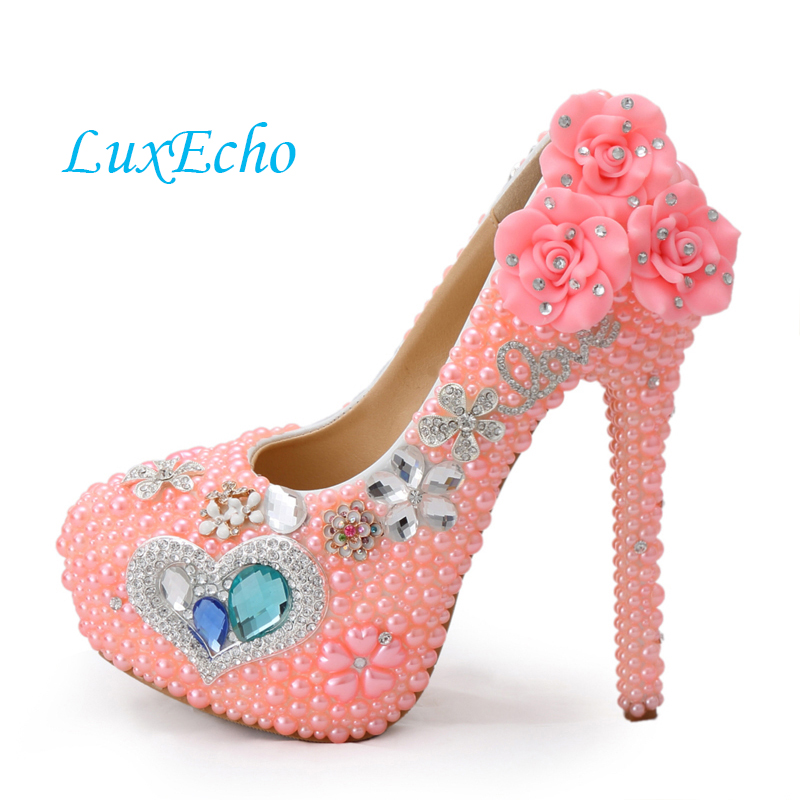 Blue rhinestone heart pink pearl high heeled shoes wedding formal dress party platform shoes high heel