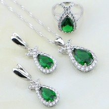 Green Cubic Zirconia White CZ 925 Silver Jewelry Sets For Women Wedding Sliver Earrings/Pendant/Necklace/Ring