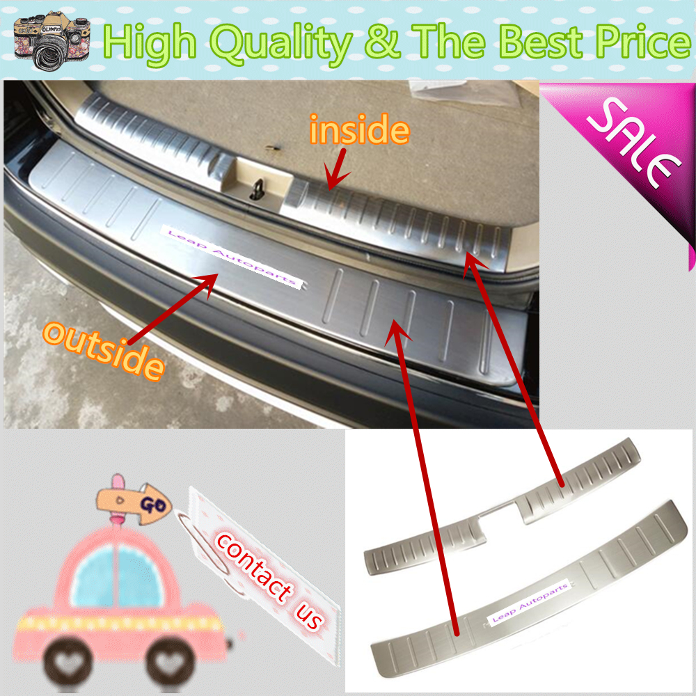For Toyota Highlander 2008 2009 2010 2011 outside/inside Rear Bumper trim Stainless Steel Scuff Sill trunk plate pedal cover car rear trunk security shield shade cargo cover for nissan qashqai 2008 2009 2010 2011 2012 2013 black beige