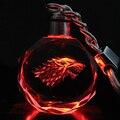 Game of Thrones Casa Stark de Winterfell Lobo Símbolo Emblema Chaveiro De Cristal Chaveiro Pingente LEVOU Cor Flash Presente Cosplay