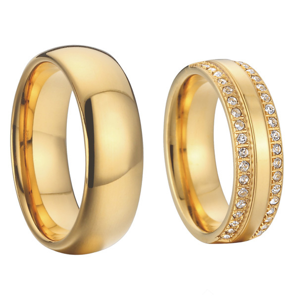 Luxury Cubic Zirconia Alliances Gold Colour Titanium Steel Jewelry Couples Wedding Bands Promise Rings Sets 1 Pair In From Accessories On