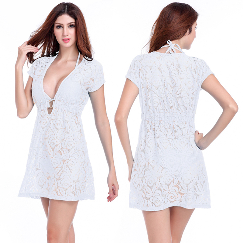 New Arrival Women's Sexy Hollow Out Lace Cover Ups Beachwear Solid - Women's Clothing - Photo 2